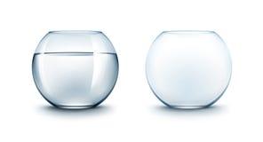 Insieme degli acquari di vetro blu di Fishbowls senza pesce illustrazione vettoriale