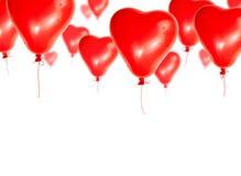 Insieme degli aerostati rossi sotto forma di un cuore Fotografia Stock Libera da Diritti