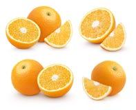 Insieme degli agrumi arancio del gruppo isolati su bianco Fotografia Stock