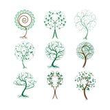 Insieme degli alberi decorativi per progettazione Immagini Stock