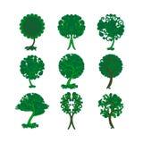 Insieme degli alberi decorativi per progettazione Immagini Stock Libere da Diritti