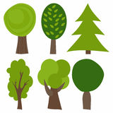 Insieme degli alberi del fumetto Illustrazione di vettore Alberi verdi Immagini Stock Libere da Diritti