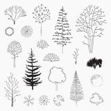 Insieme degli alberi dell'estratto di vettore, linea progettazione Fotografia Stock