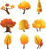Insieme degli alberi di autunno isolati sui precedenti bianchi Fotografie Stock