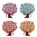 insieme degli alberi di nastri di consapevolezza illustrazione vettoriale