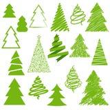 Insieme degli alberi di Natale. Fotografia Stock