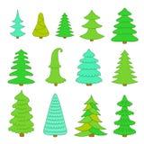 Insieme degli alberi di Natale Fotografie Stock