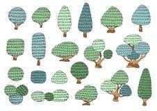 Insieme degli alberi disegnati a mano liberi personaggio dei cartoni animati, illustrazione di vettore Fotografie Stock