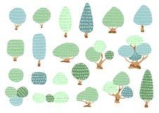 Insieme degli alberi disegnati a mano liberi personaggio dei cartoni animati, illustrazione di vettore Fotografia Stock