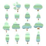 Insieme degli alberi disegnati a mano liberi personaggio dei cartoni animati, illustrazione di vettore Immagini Stock Libere da Diritti