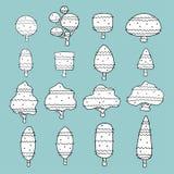 Insieme degli alberi disegnati a mano liberi personaggio dei cartoni animati, illustrazione di vettore Immagine Stock