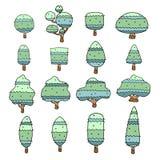 Insieme degli alberi disegnati a mano liberi personaggio dei cartoni animati, illustrazione di vettore Immagini Stock