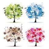 Insieme degli alberi floreali bei per il vostro disegno Immagine Stock Libera da Diritti