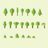 Insieme degli alberi stilizzati astratti illustrazione naturale Fotografie Stock