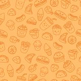 Insieme degli alimenti industriali delle icone di scarabocchio del fumetto di vettore Illustrazione di alimenti a rapida preparaz Fotografia Stock Libera da Diritti