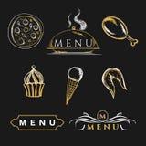 Insieme degli alimenti nutrienti degli elementi di progettazione culinari per gli opuscoli Fotografia Stock
