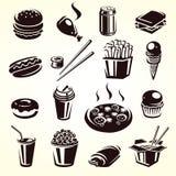 Insieme degli alimenti a rapida preparazione. Vettore Fotografie Stock Libere da Diritti