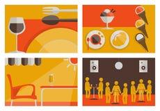 Insieme degli ambiti di provenienza colorati piano dell'osteria Royalty Illustrazione gratis