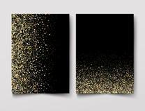 Insieme degli ambiti di provenienza con le luci dorate per progettare le cartoline d'auguri Immagine Stock