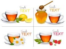 Insieme degli ambiti di provenienza con le tazze di tè. Vettore illustrazione di stock