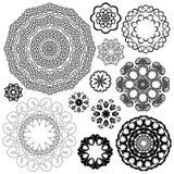 Insieme degli ambiti di provenienza d'annata, elementi ornamentali del cerchio della rabescatura Immagine Stock
