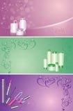 Insieme degli ambiti di provenienza floreali con le estetiche illustrazione di stock
