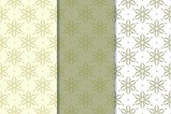 Insieme degli ambiti di provenienza floreali di verde verde oliva Reticoli senza giunte Fotografia Stock Libera da Diritti