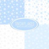 Insieme degli ambiti di provenienza senza cuciture con i fiocchi di neve Fotografie Stock Libere da Diritti