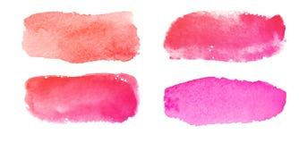 Insieme degli ambiti di provenienza strutturati rossi e rosa dell'acquerello Fotografie Stock Libere da Diritti