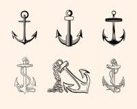 Insieme degli ancoraggi Fotografie Stock Libere da Diritti