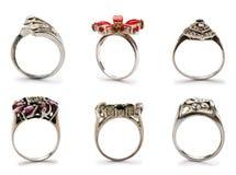 Insieme degli anelli dei monili Immagini Stock