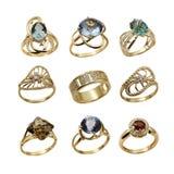 Insieme degli anelli eleganti dei monili Fotografie Stock