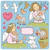 Insieme degli angeli illustrazione vettoriale