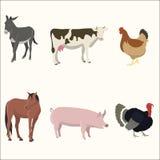 Insieme degli animali da allevamento Fotografia Stock Libera da Diritti