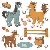Insieme degli animali da allevamento e degli oggetti, cavallo della famiglia di vettore Fotografie Stock Libere da Diritti