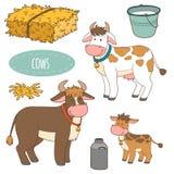 Insieme degli animali da allevamento e degli oggetti, mucche della famiglia di vettore Fotografie Stock Libere da Diritti