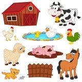 Insieme degli animali da allevamento isolati Immagini Stock