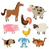 Insieme degli animali da allevamento svegli del fumetto Fotografia Stock Libera da Diritti