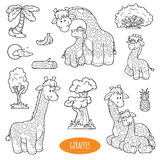 Insieme degli animali da allevamento svegli ed oggetti, famiglia di vettore delle giraffe Immagine Stock