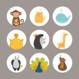 Insieme degli animali del fumetto Fotografia Stock