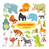 Insieme degli animali dell'Africano del fumetto Immagine Stock Libera da Diritti