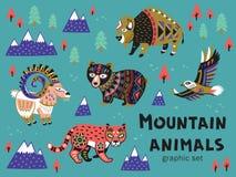Insieme degli animali della montagna Fotografie Stock Libere da Diritti