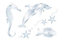 Insieme degli animali di mare d'argento, isolato. Vettore Immagini Stock
