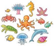 Insieme degli animali di mare del fumetto Immagini Stock