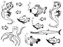 Insieme degli animali di mare di vettore Fotografia Stock Libera da Diritti