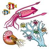 Insieme degli animali di mare divertenti Fotografie Stock Libere da Diritti