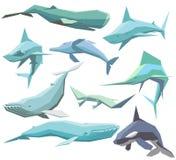Insieme degli animali di mare geometrici Immagine Stock Libera da Diritti
