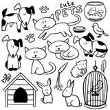 Insieme degli animali domestici disegnati a mano svegli Fotografia Stock