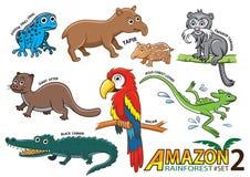 Insieme degli animali e degli uccelli svegli del fumetto nelle aree di Amazon di Sou illustrazione di stock