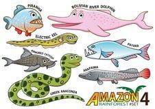 Insieme degli animali e degli uccelli svegli del fumetto nelle aree di Amazon di Sou illustrazione vettoriale